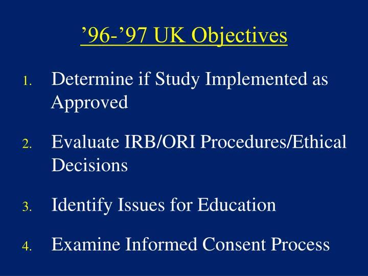 '96-'97 UK Objectives