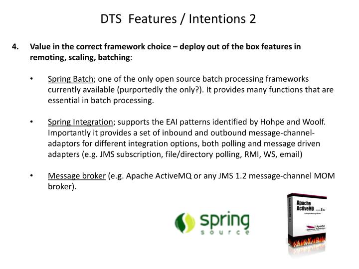DTS  Features / Intentions 2
