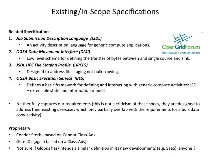 Existing/In-Scope Specifications