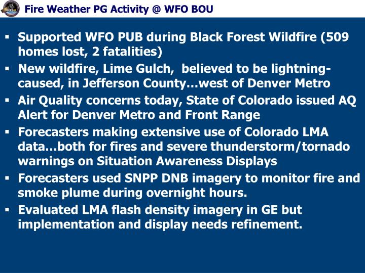 Fire Weather PG Activity @ WFO BOU