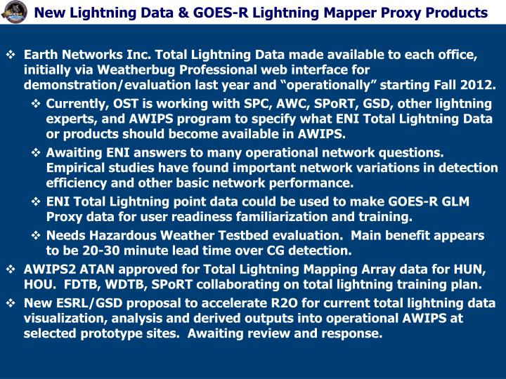 New Lightning Data & GOES-R Lightning Mapper Proxy Products