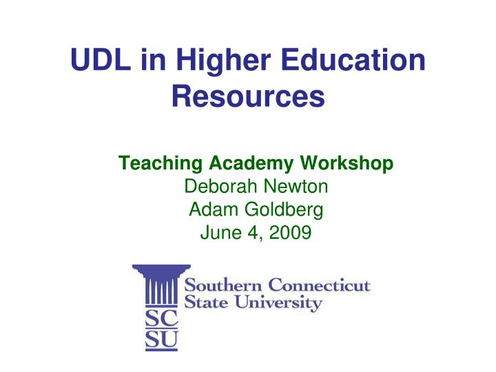 udl in higher education resources n.