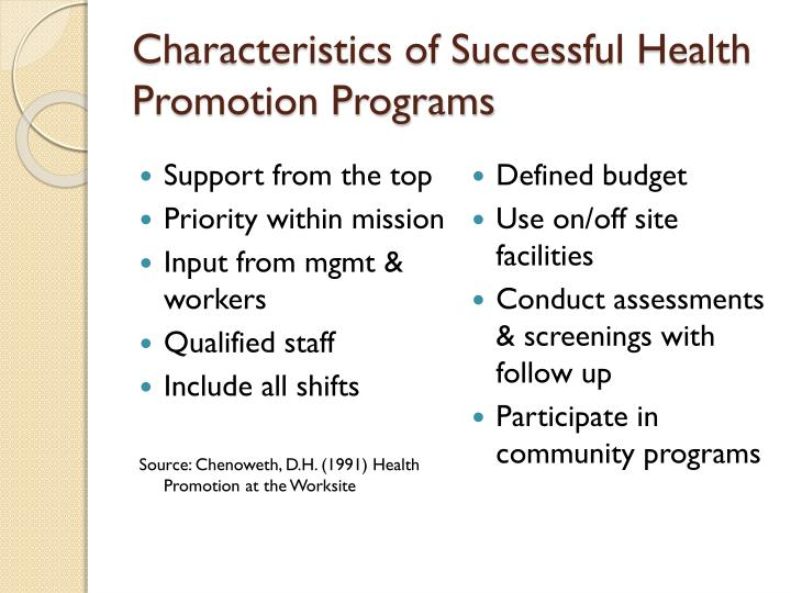 Characteristics of Successful Health Promotion Programs