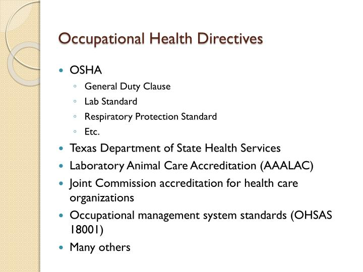 Occupational Health Directives
