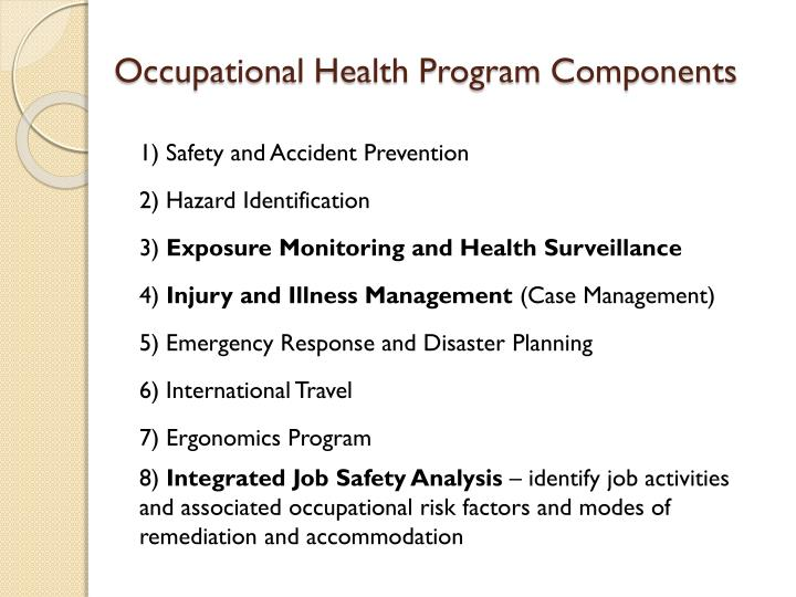Occupational health program components