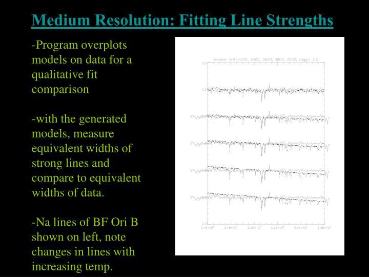 Medium Resolution: Fitting Line Strengths