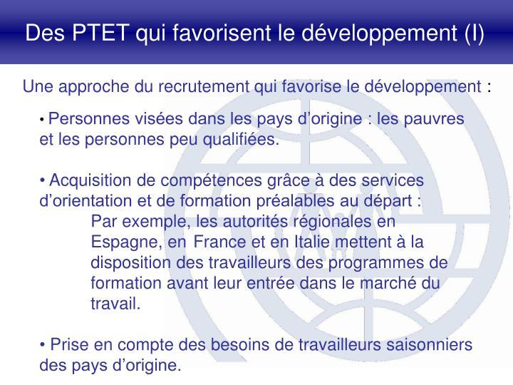Des PTET qui favorisent le développement (I)