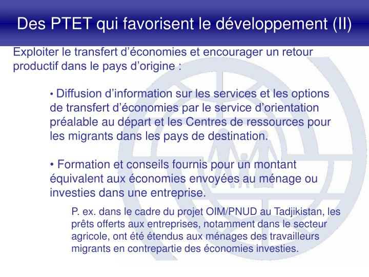 Des PTET qui favorisent le développement (II)