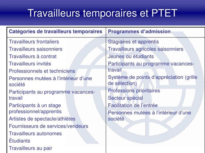 Travailleurs temporaires et PTET