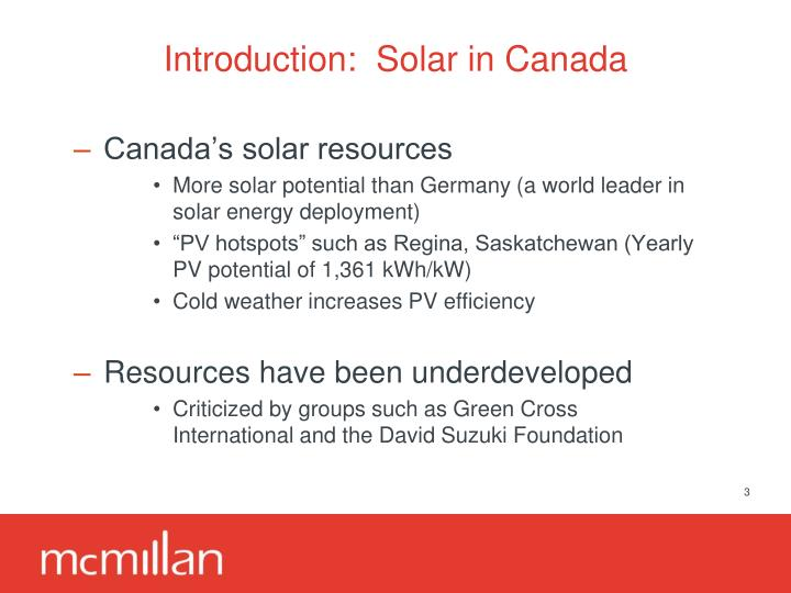 Introduction solar in canada
