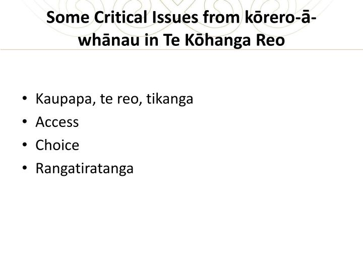 Some Critical Issues from kōrero-