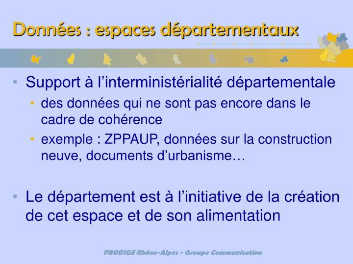 Données : espaces départementaux