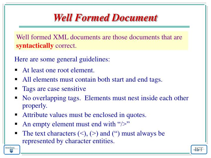 Well Formed Document