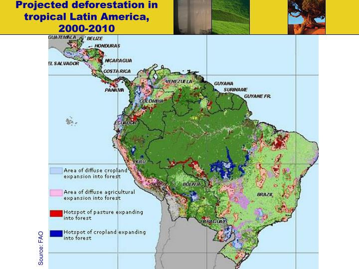 Projected deforestation in tropical Latin America,