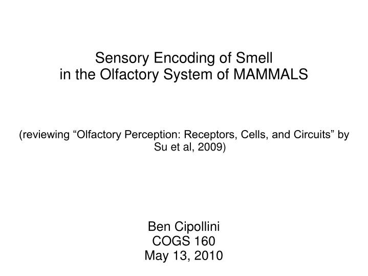 Sensory Encoding of Smell