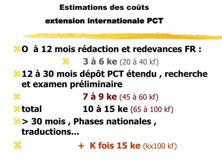 Estimations des coûts