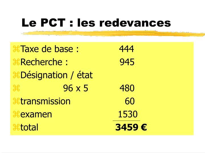 Le PCT : les redevances