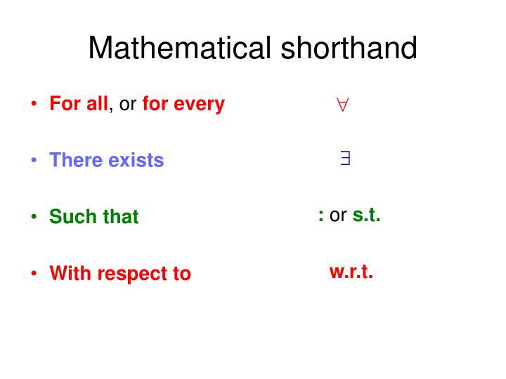 Mathematical shorthand