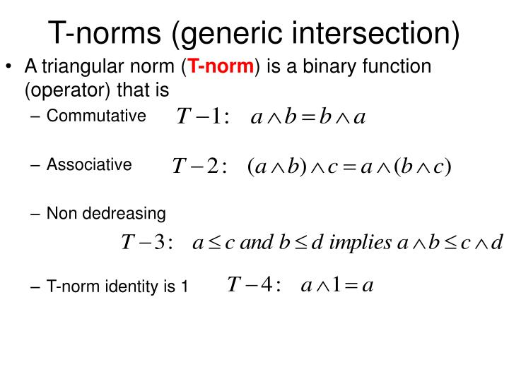 T-norms (generic intersection)