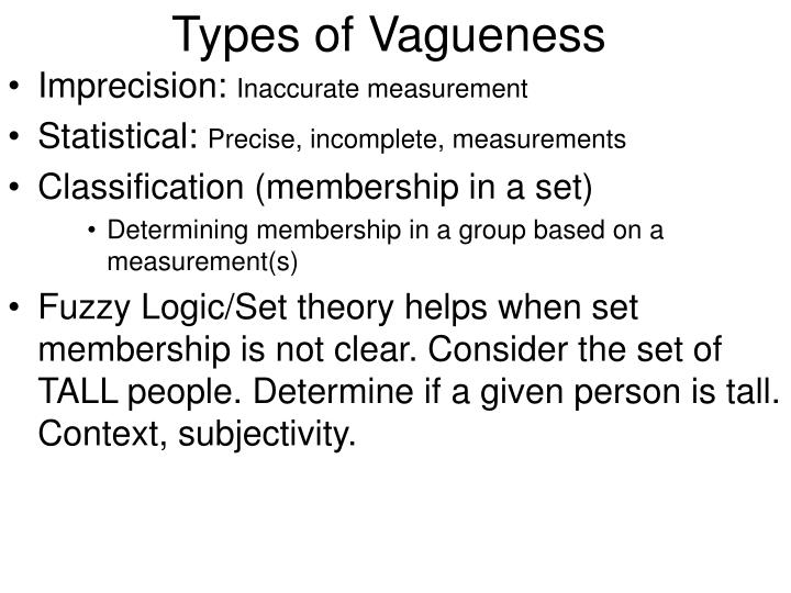 Types of Vagueness