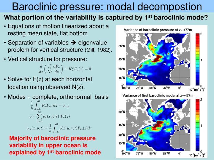 Baroclinic pressure: modal decompostion