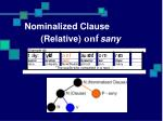 nominalized clause relative onf sany