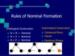 rules of nominal formation