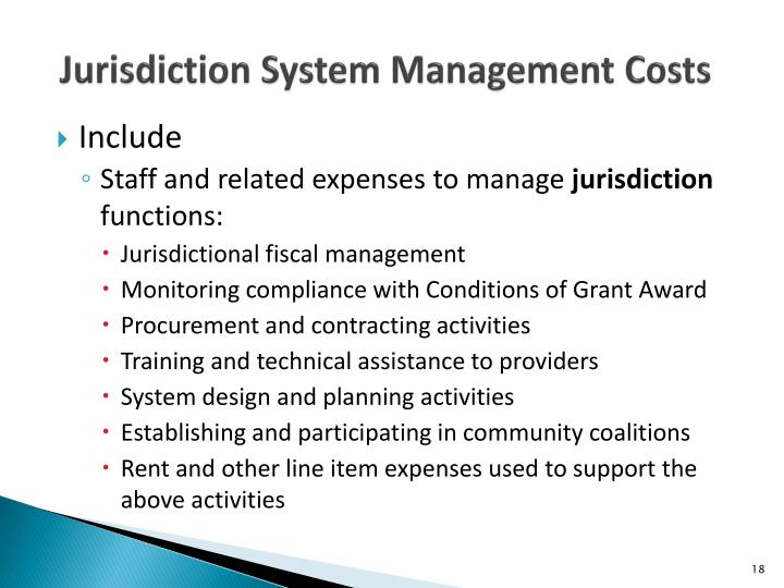Jurisdiction System Management Costs