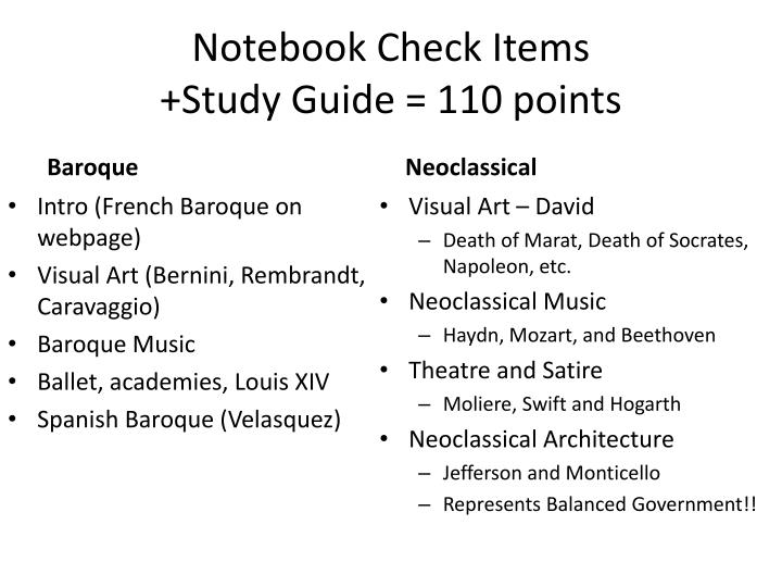 Notebook check items study guide 110 points