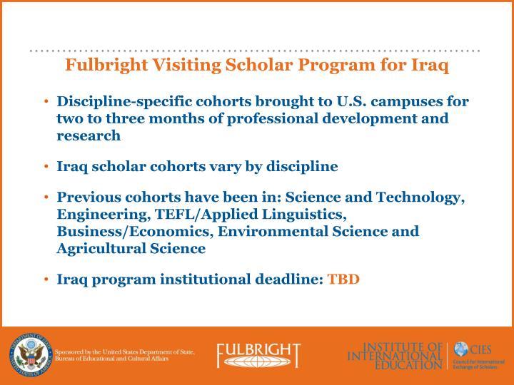 Fulbright Visiting Scholar Program for Iraq