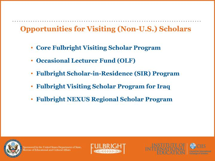 Opportunities for Visiting (Non-U.S.) Scholars