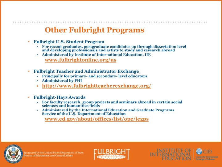 Other Fulbright Programs