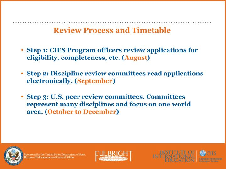 Review Process and Timetable