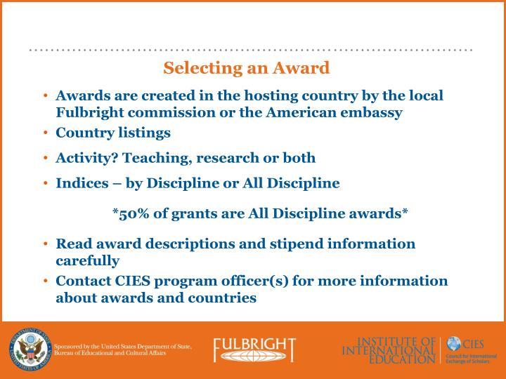 Selecting an Award