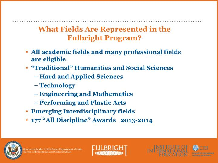 What Fields Are Represented in the Fulbright Program?