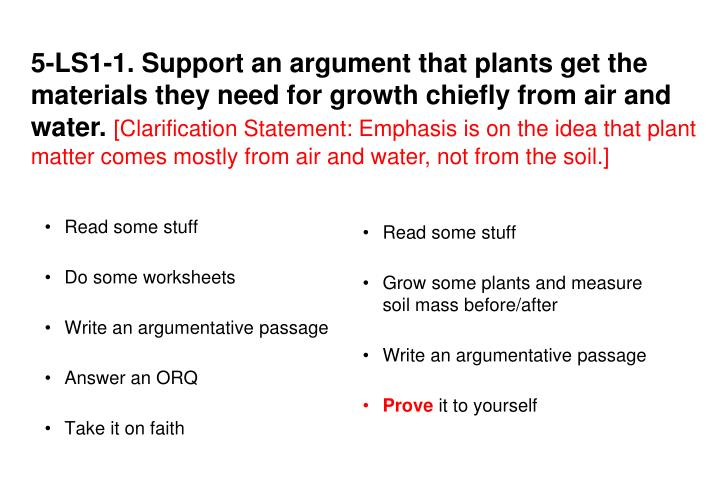 5-LS1-1. Support an argument that plants get the materials they need for growth chiefly from air and water.