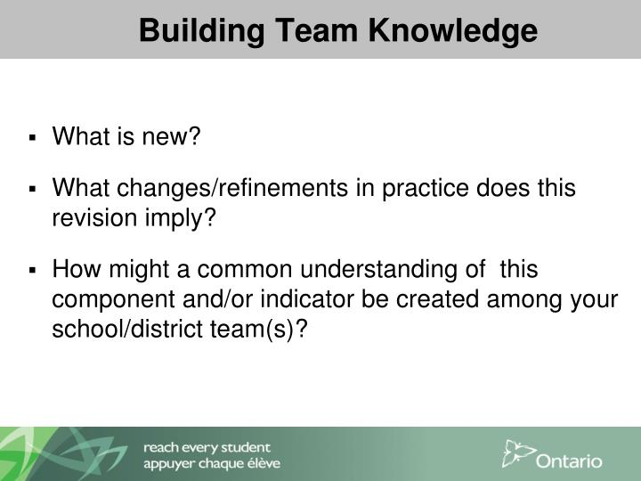 Building Team Knowledge