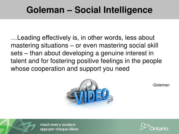 Goleman – Social Intelligence