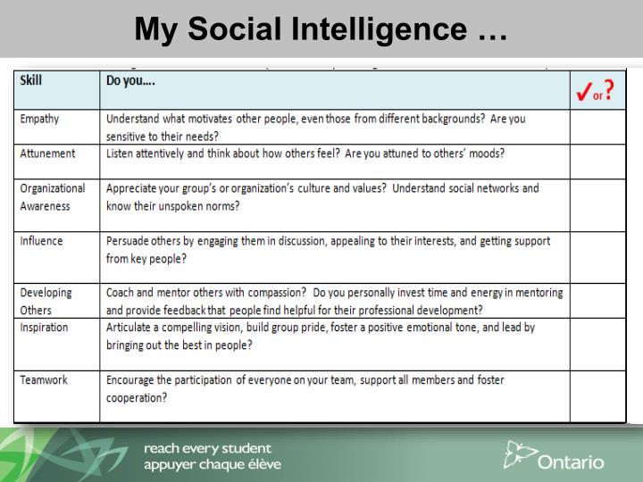 My Social Intelligence …