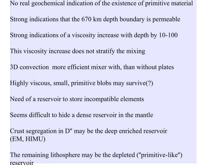 No real geochemical indication of the existence of primitive material