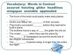 vocabulary words in context assured hoisting glider headlines wingspan unstable applauded
