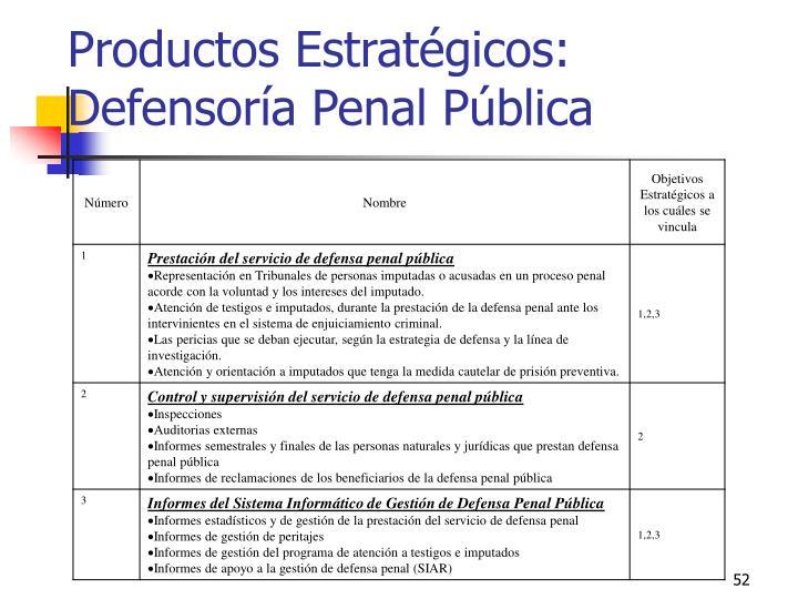 Productos Estratégicos: Defensoría Penal Pública
