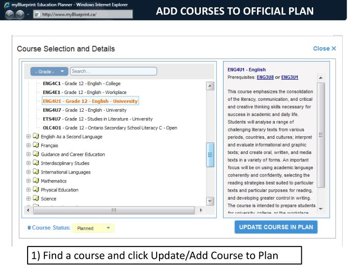 ADD COURSES TO OFFICIAL PLAN