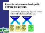 four alternatives were developed to address that question2