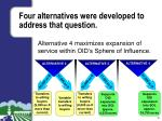 four alternatives were developed to address that question3