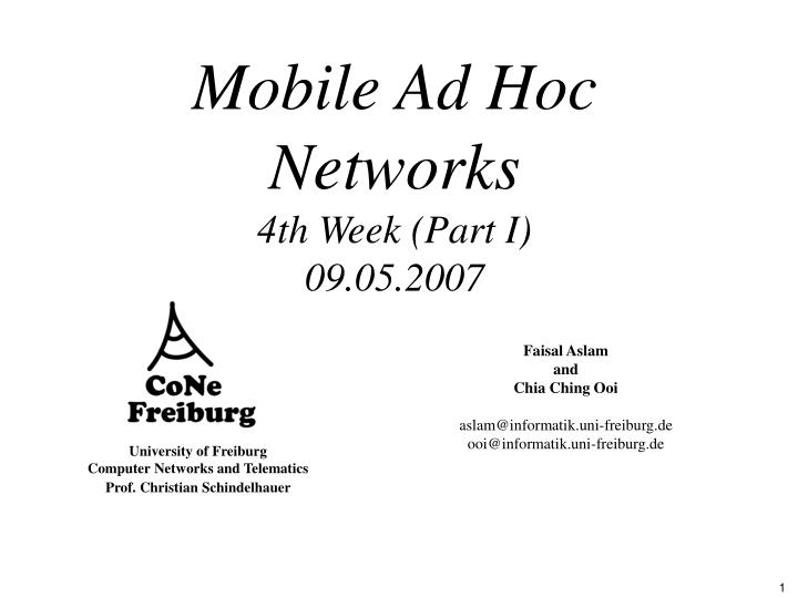 Mobile ad hoc networks 4th week part i 09 05 2007