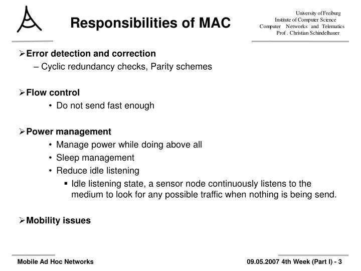 Responsibilities of mac1