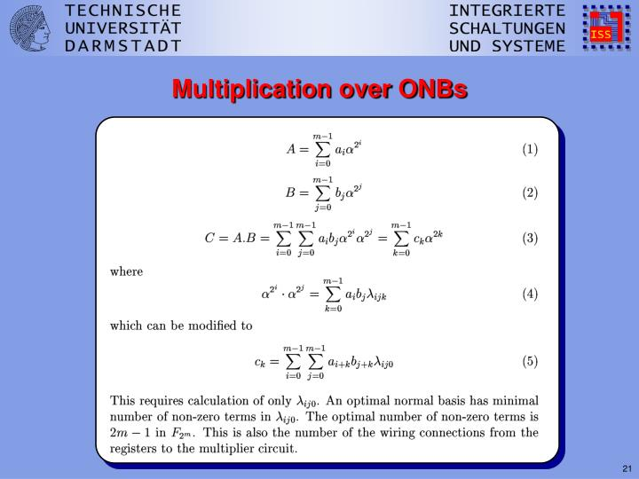 Multiplication over ONBs