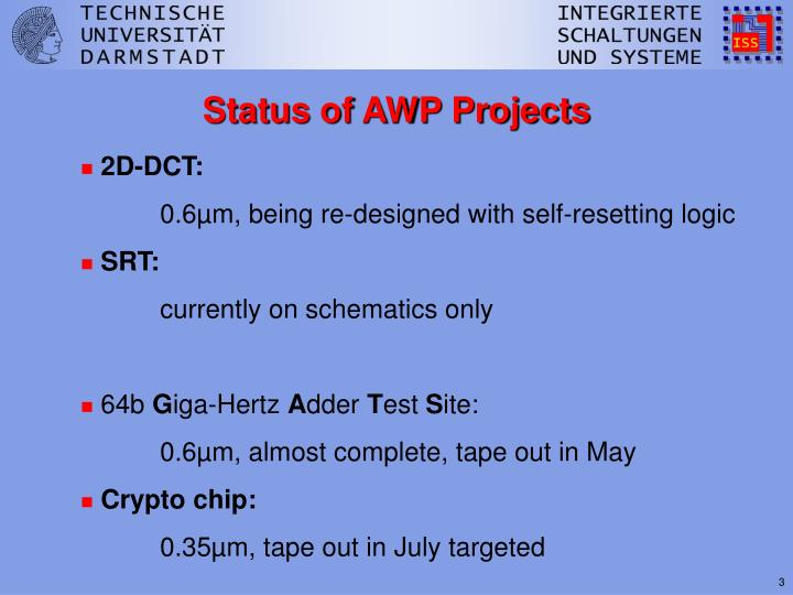 Status of awp projects