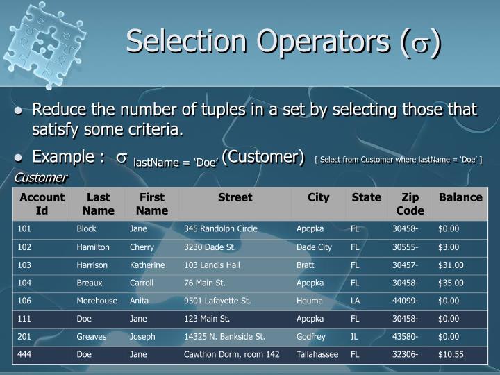 Selection operators